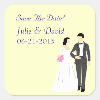 Beautiful Bride & Groom Wedding Square Sticker