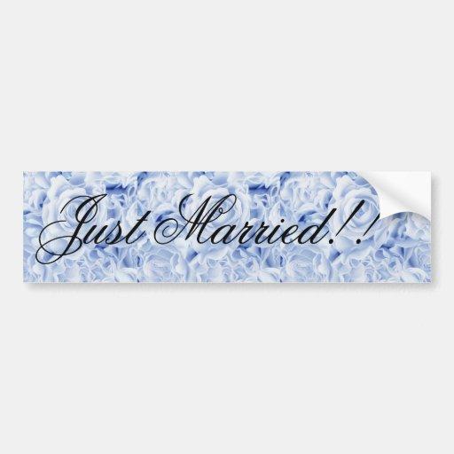Beautiful Bride in Blue, Rose Bouquet, template Bumper Stickers