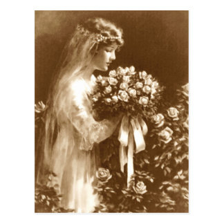 Beautiful bride with a rose bouquet postcards