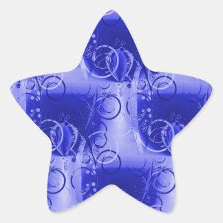 Beautiful Bright Blue Spring Floral Vines Swirls Star Sticker