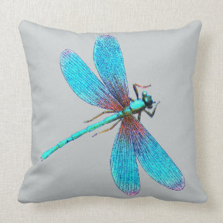 Beautiful Bright Blue Turquoise Dragonfly Cushion