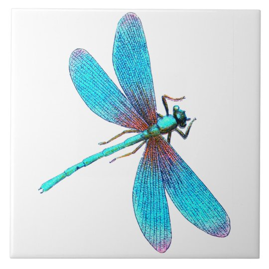 Beautiful Bright Blue Turquoise Dragonfly Tile