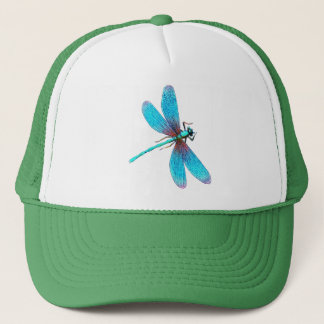 Beautiful Bright Blue Turquoise Dragonfly Trucker Hat