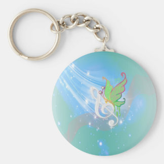 Beautiful bright cool white music note butterfly key ring