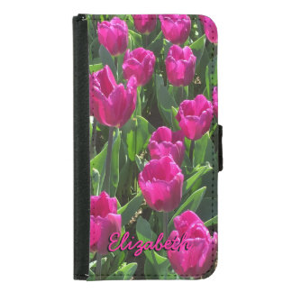 Beautiful Bright Pink Tulips Personalized Samsung Galaxy S5 Wallet Case