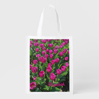 Beautiful Bright Pink Tulips Printed Name Reusable Grocery Bag