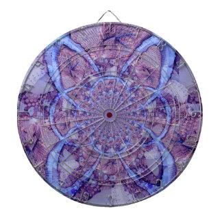 Beautiful bright, purple fractal kaleidoscope dartboard