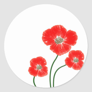 Beautiful  bright red poppy flowers image round sticker
