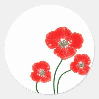 Beautiful  bright red poppy flowers image round sticker