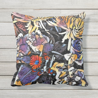 Beautiful brightly coloured floral cushion