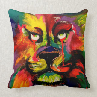 Beautiful brightly coloured lion painting cushion