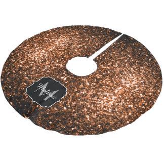 Beautiful Bronze glitters sparkles v2 Monogram Brushed Polyester Tree Skirt