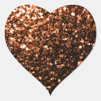 Beautiful Bronze Orange Brown glitters sparkles Heart Sticker