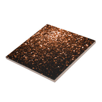 Beautiful Bronze Orange Brown glitters sparkles Small Square Tile