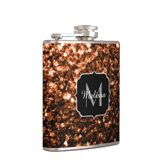 Beautiful Bronze Orange Brown sparkles Monogram Hip Flask