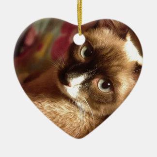 Beautiful Brown Cat Ceramic Heart Decoration