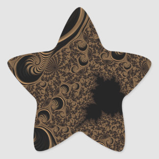 Beautiful Brown Cream Tone Fractal Star Stickers