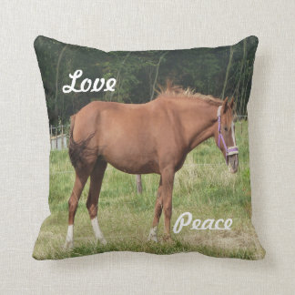 Beautiful brown horse image in open field throw cushions