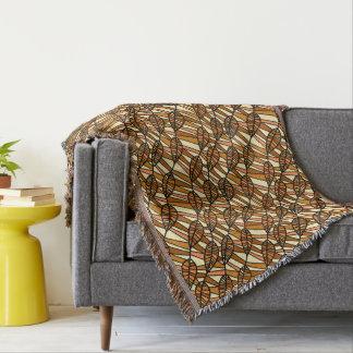 Beautiful Brown Leaf Fringed Throw Blanket