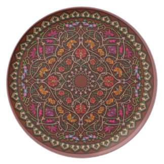 Beautiful Brown, Purple and Orange Mandala Dish Dinner Plate