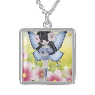 Beautiful Brunette Princess Fairy Girl Sterling Silver Necklace