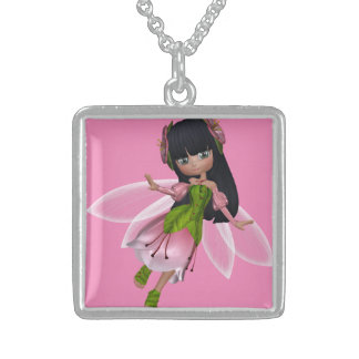 Beautiful Brunette Princess Fairy in Pink Dress Sterling Silver Necklace