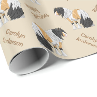 Beautiful Buckskin Pinto Gypsy Vanner Draught   Wrapping Paper