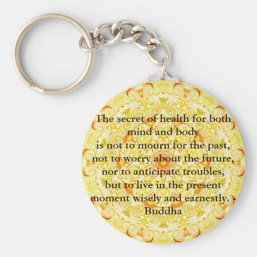 Beautiful Buddhist Quote with Vibrant Mandela Basic Round Button Key Ring
