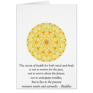 Beautiful Buddhist Quote with Vibrant Mandela Greeting Card