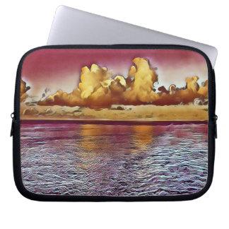 Beautiful Burgundy Rose Golden Ocean Sunrise Laptop Sleeve