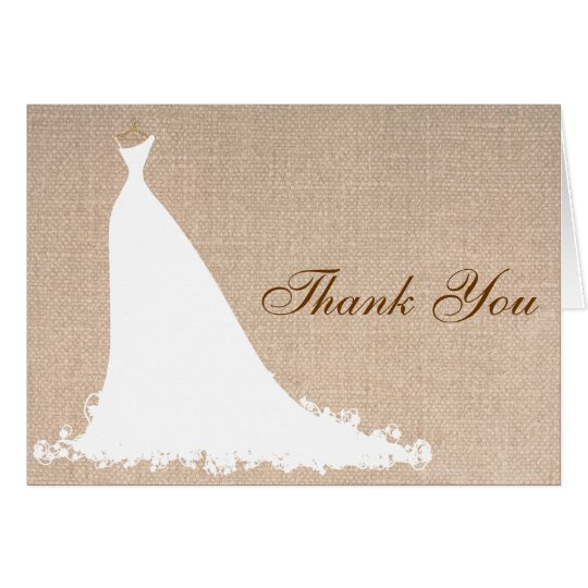 Beautiful Burlap Bridal Shower Thank You Cards