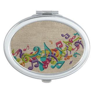Beautiful burlap texture music notes sounds backgr vanity mirror