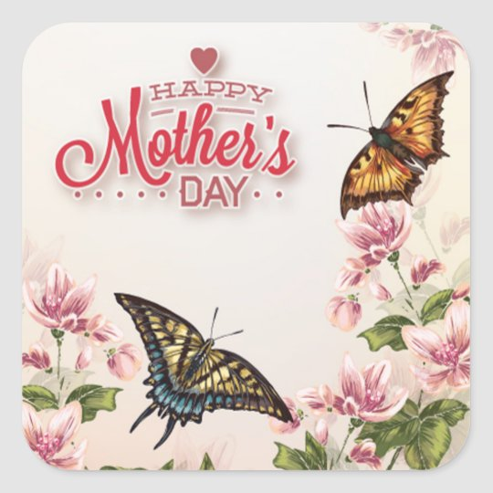 Beautiful Butterflies Floral Mothers Day Square Sticker