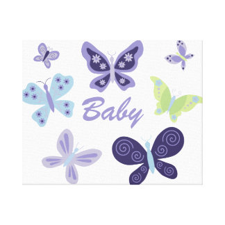 "Beautiful Butterflies Nursery (20""x16"") Canvas Print"