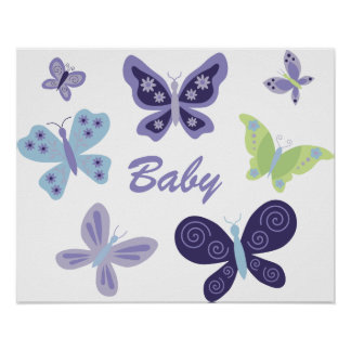 Beautiful Butterflies Nursery Poster