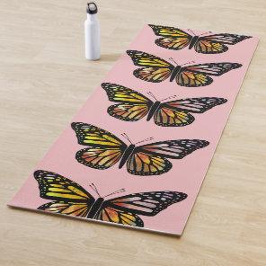 Beautiful Butterflies Watercolor Art Pink Yoga Mat