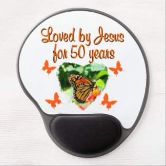 BEAUTIFUL BUTTERFLY 50TH BIRTHDAY DESIGN GEL MOUSE PAD