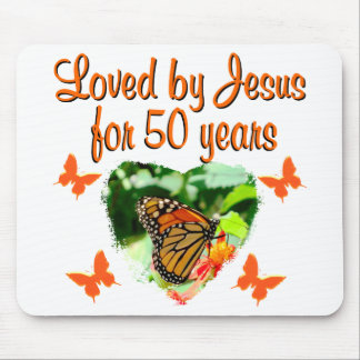 BEAUTIFUL BUTTERFLY 50TH BIRTHDAY DESIGN MOUSE MAT