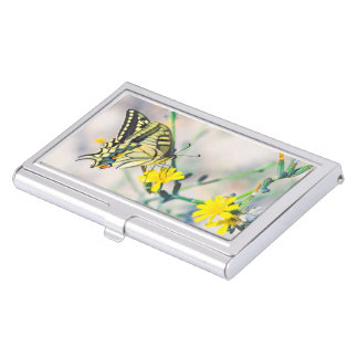 Beautiful Butterfly and Small Yellow Flowers Business Card Holder