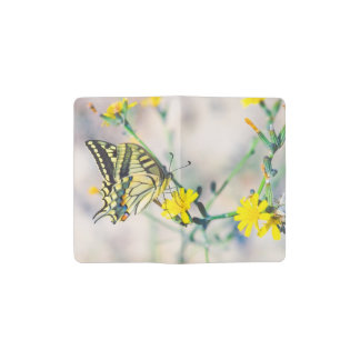 Beautiful Butterfly and Small Yellow Flowers Pocket Moleskine Notebook