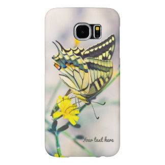 Beautiful Butterfly and Small Yellow Flowers Samsung Galaxy S6 Cases