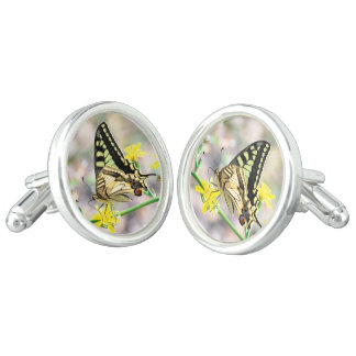 Beautiful Butterfly and Yellow Flowers Cuff Links