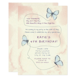 Beautiful, Butterfly Birthday Party Invitations