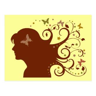 Beautiful Butterfly Lady Postcard