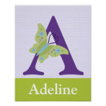 Beautiful Butterfly Letter Initial Art Print