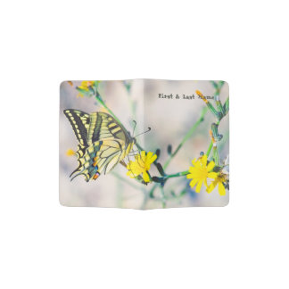 Beautiful Butterfly on Yellow Flower Passport Holder