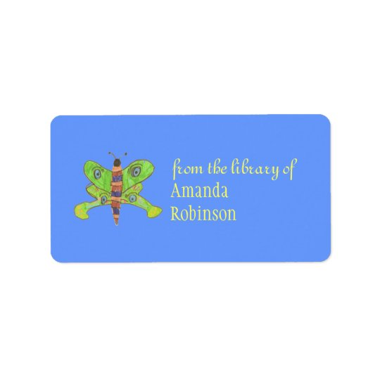 Beautiful butterfly personalised bookplate label