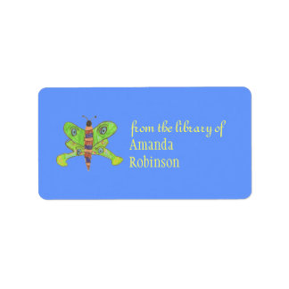 Beautiful butterfly personalized bookplate address label
