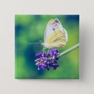 Beautiful Butterfly Purple Flower Nature Scenery 15 Cm Square Badge