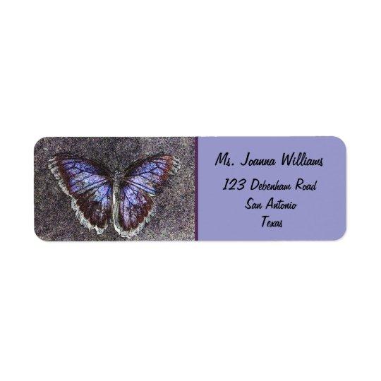 Beautiful Butterfly/Purple. Return Address Label